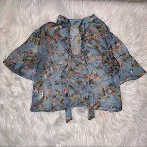 Pastel Blue Floral Top